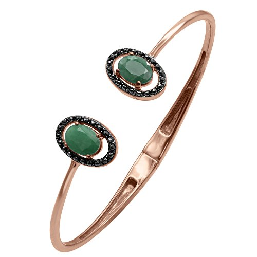 Emerald Bangle Braceleti in Sterling Silver 14k Rose Gold Plated
