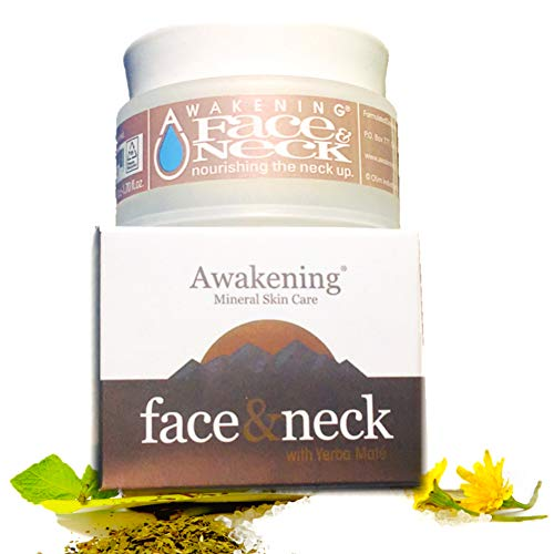 Awakening FACE NECK Magnesium-rich, Moisturizing Antioxidant Formulation, 1.75oz 50ml Broad Spectrum Sun Protection SPF 7 Anti-aging Mineral Moisture D colletage Facial Cream with Yerba Mat