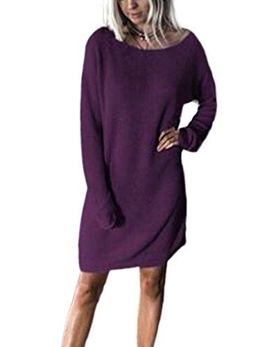 Vestido Oversize de Casual manga larga suelta de las mujeres Purple