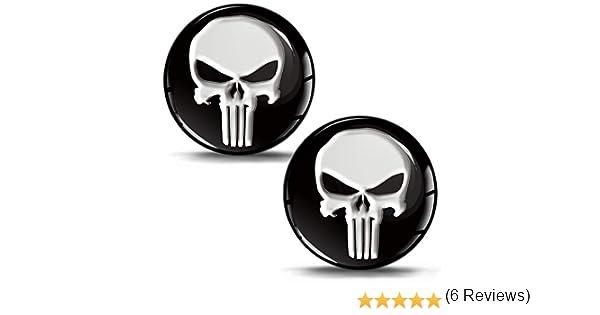SkinoEu® 2 x 30mm 3D Gel Silicona Stickers Pegatinas Adhesivo Punisher Calavera Autos Coches Moto Ciclomotores Bicicletas Ordenador Portátil Tuning KS 1: Amazon.es: Coche y moto