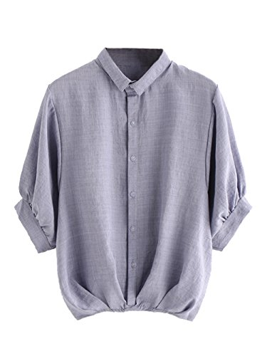 Blouse Collared (Milumia Women's Lantern Sleeve Pleated Detail Button Down Blouse Shirt X-Large Gray)