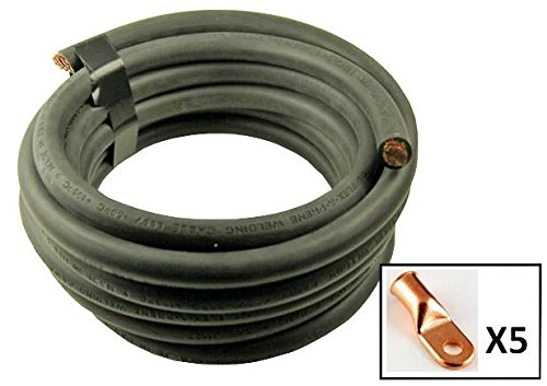 Crimp Supply Ultra-Flexible Car Battery/Welding Cable - 3/0 Gauge, Black - 10 Feet - and 5 Copper Lugs