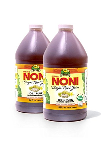 Virgin Noni Juice - 100% Pure Organic Hawaiian Noni Juice - 2 Pack of Half Gallon Jugs (64oz each) by Virgin Noni Juice