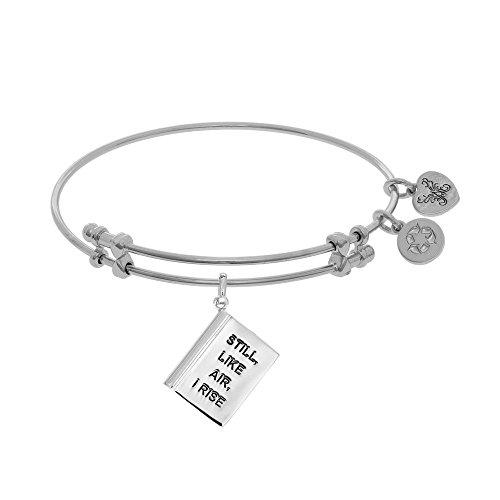 JewelryWeb Brass with White Finish Adjustable Still Like Air I Rise Angelica Bangle Bracelet