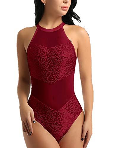 FEESHOW Women's Halter Neck Sequin One Piece Leotard Bodysuit Dancewear Burgundy Medium