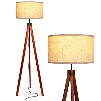 Brightech Eden Tripod LED Floor Lamp - Mid Century Dimmable Modern Light for Contemporary Living Rooms - Tall Free Standing Lamp with Wood Legs for Bedroom, Office - Havana Brown