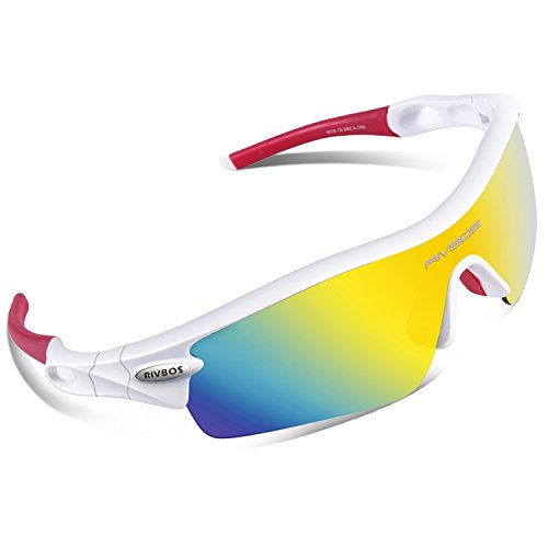 RIVBOS 805 POLARIZED Sports Sunglasses with 5 Set Interchangeable Lenses for Cycling - Sports Cycling Prescription Sunglasses