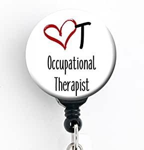 OT / Occupational Therapist - Retractable Badge Reel With Swivel Clip and Extra-Long 34 inch cord - Badge Holder