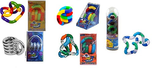 Therapy Tangle (Set of 5 Tangle Jr Fidget Toys: Original Metallic Textured Fuzzy Relax)