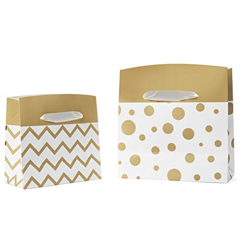 Gift Box Bags with Handles - 6 Pack - Small and Medium Combo Set - Chevron and Polka Dot Designs in White and Gold for Christmas Presents, Wrapping Gifts, Stocking Stuffers, Holidays and Party Favors