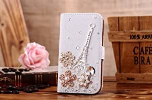 Quaroth For Htc One (M7) New 3d Bling Crystal Rhinestone Diamond Wallet Leather Purse Case Fold Flip Cover Stand Wellpad...