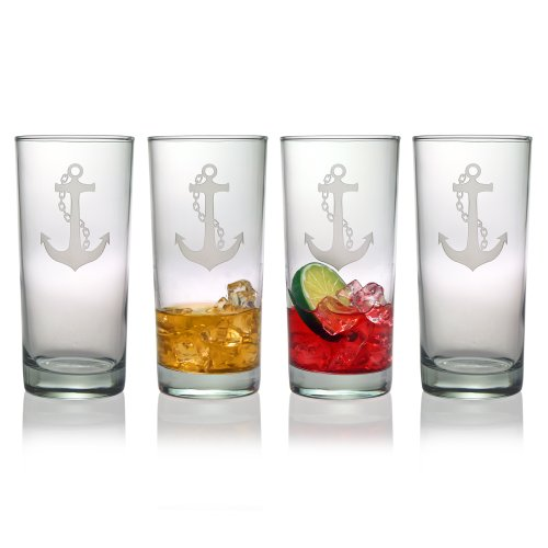 Susquehanna Glass Nautical Anchor Sand Etched Hiball Glasses, Set of 4, 15 ounces