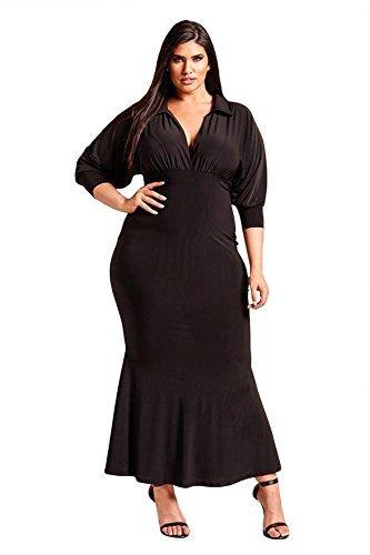 Abito Lunga vita la profonde lavoro parte a donne NAERFB V collare alta di formale Manica dimensioni maxi Black più Za7xnqHw