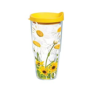 Tervis White Daisies Wrap Bottle with Yellow Lid, 24-Ounce, Garden Party