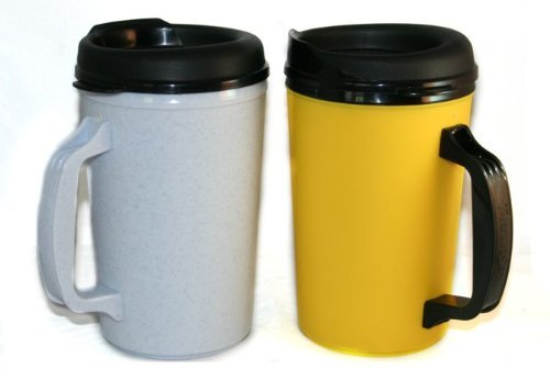 2 ThermoServ Foam Insulated Coffee Mug 20 oz w/Lids Granite