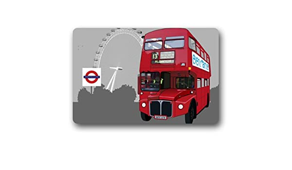 London Red Bus and Ferries Wheel doormat,Non-Woven Fabric