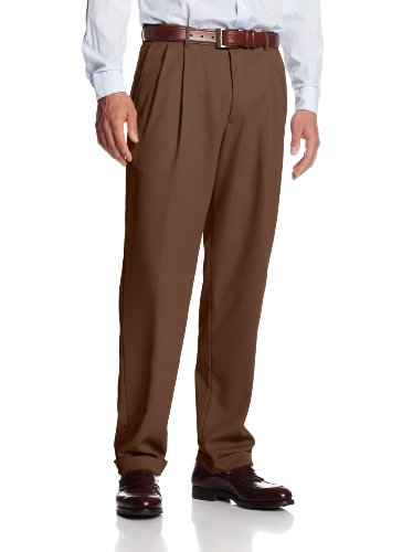 Haggar Men's Mynx Gabardine Hidden Expandable Waist Pleated Dress Pant,Oak,40x30