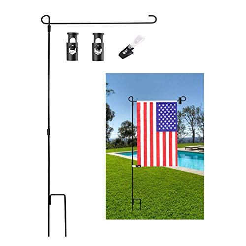 Garden Flag Stand Flagpole, Black Wrought Iron Yard Garden Flag Pole - Holds Flags up to 15