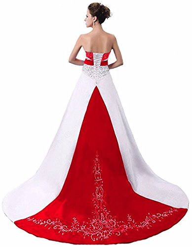 HUICHENGYAO Women's Strapless Satin Embroidery Wedding Dress A Line Bridal Gown Red (Red Wedding Dress)