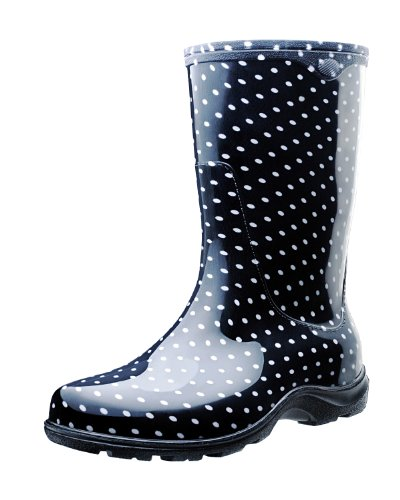 Sloggers Women's Waterproof Rain and Garden Boot with Comfort Insole, Black/White Polka Dot,