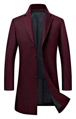 Men's Trench Coat Wool Blend Slim Fit Jacket Single Breasted Business Top Coat 18635 Wine Red -