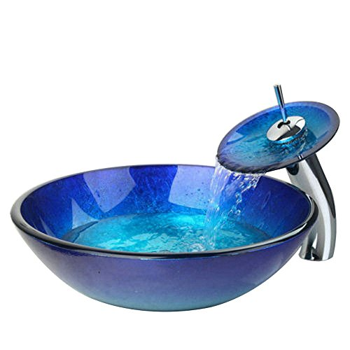Bathroom Vessel Sink Waterfall Faucet Tempered Glass Basin Vanity Sink Bowl with Pop Up Drain Combo,Blue