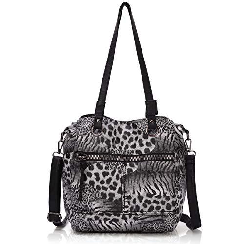 - Angel Barcelo Womens Fashion Handbags Tote Bag Cross Body Shoulder Bag Top Handle Satchel Purse Black Leopard