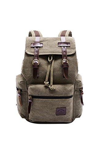Women's Canvas Travel Bag Student Drawstring Bucket Backpack (Beige) - 4