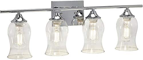 Classical 4 Glass Shade Polished Chrome Bathroom Vanity Light Fixture 2700K LED Bulbs Included