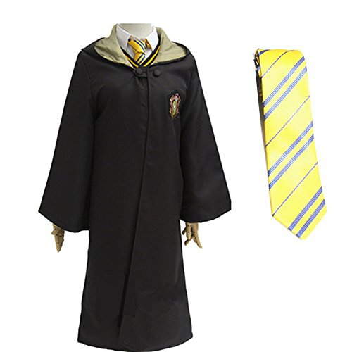 Halloween Magic Long Robe Unisex Cosplay Costume School Uniform and Tie (Yellow, 2XL) ()