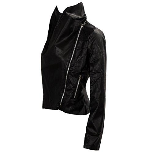 SODIAL (R) Moda vendimia de las mujeres delgado para la motorista de la motocicleta de la PU de cuero suave capa de la cremallera de la chaqueta Negro - XXL
