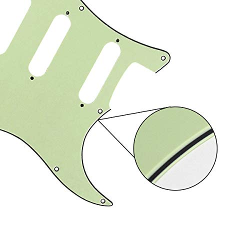 FLEOR 3Ply Black 11 Hole Round Corner Strat HSS Pickguard Guitar BackPlate Set Fit USA//Mexican Stratocaster 4-screw Humbucking Mounting Open Pickup