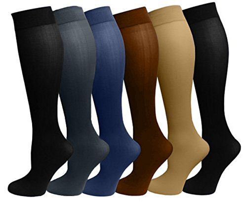 6 Pairs Pack Women Stretchy Spandex Trouser Socks Opaque Knee High (Assorted) - Nylon Stretch Trousers