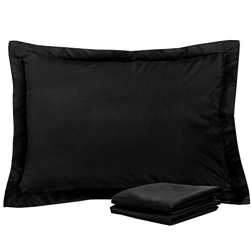 (Standard Pillow Shams Set of 2 Black 600 Thread Count 100% Natural Cotton Envelop Closer Pillow Shams Standard 20X26 Cushion Cover Decorative Pillow Cover Tailored Poplin (Standard 20 x 26,)