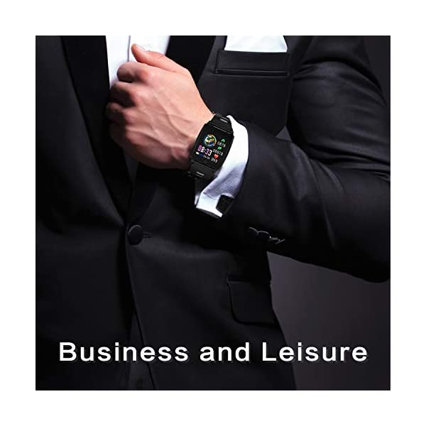 Reloj Inteligente, KINGLINK Smartwatch con Cronómetro Pulsera Inteligente Impermeable Monitor de sueño Pantalla Color Podómetro con Pulsómetro, Calorías IP68 para Android y iOS (Negro) 2