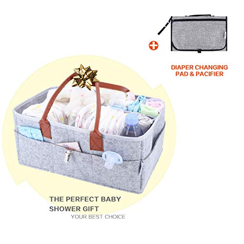 Baby Diaper Caddy Organizer – Baby Shower Gift Basket for Boys Girls – Baby Registry – Diaper Travel Tote Bag – Nursery Storage Bin for Changing Table – Large Portable Car Travel Caddy – Grey