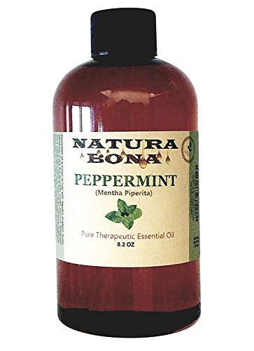 Natura Bona Peppermint Oil Refill Bottle. Use to Naturally Repel Mice, Ants, Spiders, Mosquitoes, Roaches and Other Insects; 8.2oz Plastic PET Bottle