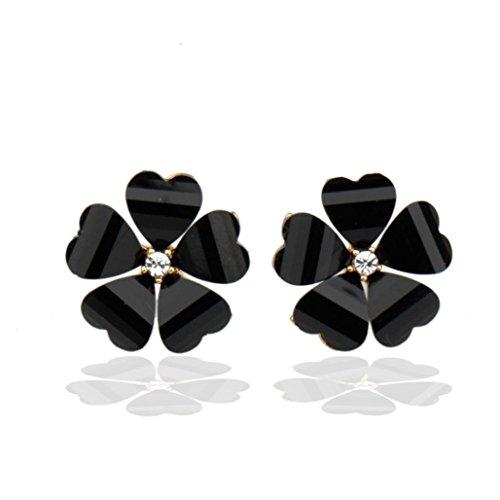 Hypoallergenic 1 Pair Womens Black/Pink/White Flower Shaped Ear Studs Earring Lovely Crystal Jewellery (Black)