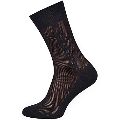 5-pack Men's Ultra thin Breathable Cotton Dress Socks Black, 9-11