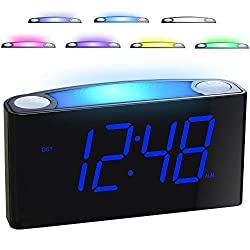 "Mesqool Digital Alarm Clock - 7 Colored Night Light, 7"" Large LED Display with Dimmer, 2 USB Chargers, 12/24 H, Big Snooze, Loud for Heavy Sleepers, Easy to Use for Kids Elderly, Bedroom Kitchen Desk"