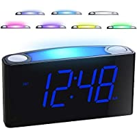 Mesqool Digital Alarm Clock, 7 Colored Night Light, 7'' Large LED Display with Full Dimmer, USB Chargers, 12/24 H, Big Snooze, Easy to Set, Outlet Powered & Battery Backup, Loud Alarm for Heavy Sleepers Kids Elderly Seniors, Bedrooms Home Kitchen Desk Shelf Office Travel (Blue)