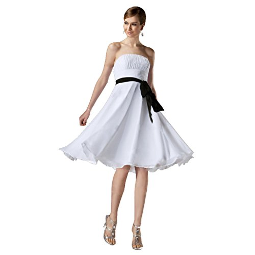 (StarGirl Custom Made Womens A-Line Princess Strapless Knee-Length Chiffon Bridesmaid Dress With Ruffle Sash Bow White Size 16)