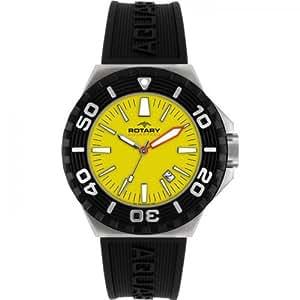 Rotary Aquaspeed - Reloj analógico de caballero de cuarzo con correa de goma negra