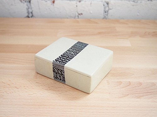 African Jewelry Trinket Box, Soapstone Box, Natural with Black Design, Made in Kenya