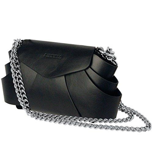 Leder-Handtasche EVITA schwarz - (108)