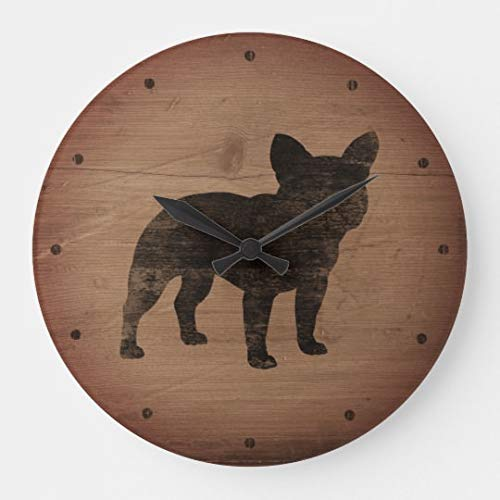 Moonluna French Bulldog Silhouette Rustic Nursery Wooden Wall Clock Battery Operated Roman Numerals Silent Non-Ticking 12 Inches Kids Clock - Bulldog French Silhouette