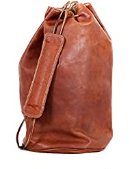 Handolederco Brown Vintage Leather Backpack Laptop Messenger Bag Rucksack Sling Travel Rucksack for Men Women