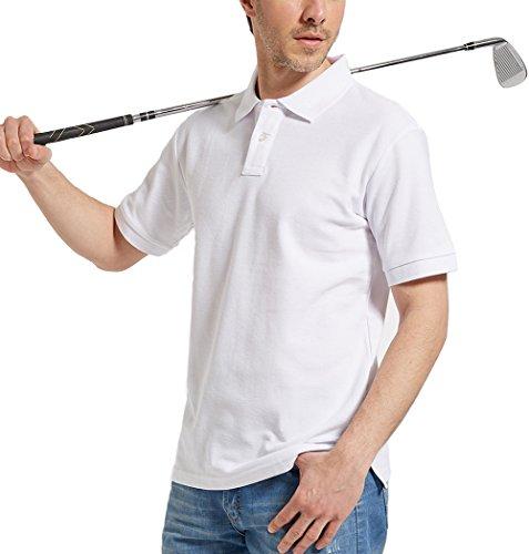 Kodamaa Men's Casual 100% Cotton Solid Short Sleeve Pique Polo Shirt