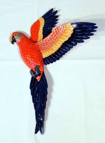Handpainted Flying Red Parrot Wall Mount Decor Plaque 19