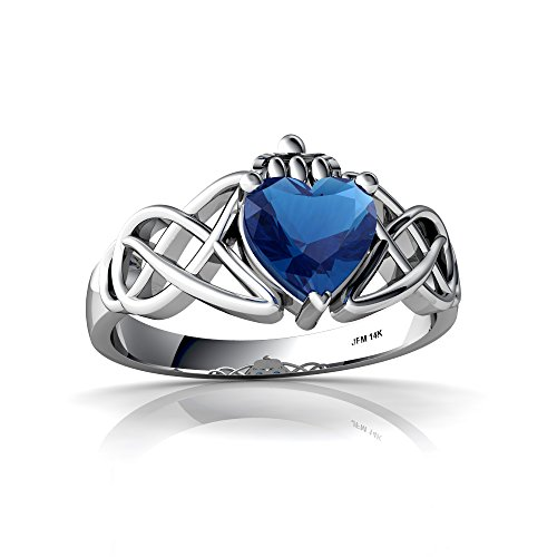 - 14kt White Gold London Topaz 6mm Heart Claddagh Celtic Knot Ring - Size 6